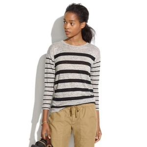 Madewell 3/4 Sleeve Linen Tee In Mixed Stripe XS